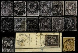 FRANCE, Cancels, Yv 89, 103, Used, F/VF - Marcophily (detached Stamps)