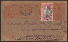 """EP Du Congo Au Type 10ctm Orange """"Palmier"""" De Yangwé 28/5/1905 Vers Jette Biffé Et Remplacé Par Heyst Sur Mer - Entiers Postaux"""