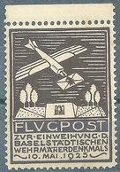 """Luftpost Vignette  """"Einweihung Wehrmänner Denkmal, Basel""""        1923 - Schweiz"""