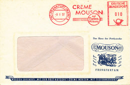 Germany Cover With Meter Cancel Frankfurt Main 9-1-1957 (Creme Mouson Mit Tiefen Wirkung) - [7] Federal Republic