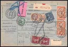 25001 - Bulletin D'expédition France Colis Postaux Fiscal Haut Rhin 1927 Strasbourg Semeuse Merson 145 Valeur Déclarée - Spoorwegzegels