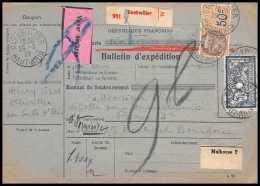 25016 - Bulletin D'expédition France Colis Postaux Fiscal Haut Rhin 1927 Guebwiller Semeuse Merson 123 Valeur Déclarée - Spoorwegzegels