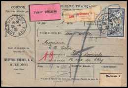 25029 - Bulletin D'expédition France Colis Postaux Fiscal Haut Rhin - 1927 Mulhouse Merson 123+145 Valeur Déclarée - Spoorwegzegels