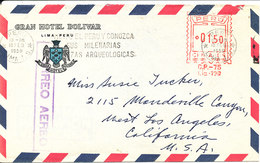 Peru Air Mail Cover With Meter Cancel Sent To USA 18-2-1959 - Peru