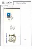 CONGO KINSHASA ZAIRE 1983 ISSUE MINERALS COB BL 54 FDC - Zaïre