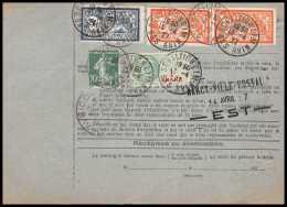 25062 - Bulletin D'expédition France Colis Postaux Fiscal Haut Rhin 1927 Schiltigheim Merson 123+145 Valeur Déclarée - Spoorwegzegels