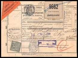 25127 - Bulletin D'expédition France Colis Postaux Fiscal Chemin De Fer DU NORD PARIS 10/9/1925 Pour Malmö Suède (Sweden - Zweden