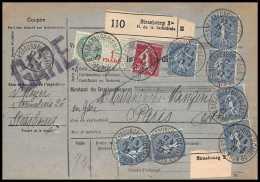 25234/ Bulletin D'expédition France Colis Postaux Fiscal Bas-Rhin Strasbourg 3 Pour Paris GARE 1927 Semeuse N°205 X 7 - Spoorwegzegels