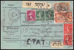 25256/ Bulletin D'expédition France Colis Postaux Fiscal Bas-Rhin Strasbourg 4 Pour Sées Orne 1927 Superbe Combinaison - Spoorwegzegels