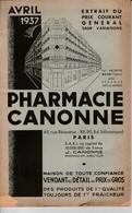 Paris - Catalogue Pharmacie Canonne Avril 1937 - 1900 – 1949