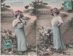 """Bq - Lot De 2 Cpa """"Les Marguerites"""" - Femmes"""