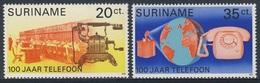 Suriname 1976 Mi 730 /1 Sc 452 /3 ** Switchboard + Satellite, Early, Modern Telephone / Telegraphenamt + Nachrichtensat. - Suriname
