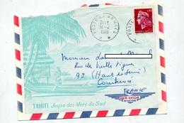Lettre Cachet Poste Aux Armees  Illustré Tahiti - Cachets Manuels
