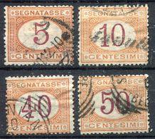 Italien  Portomarken  Ziffernzeichnung   Mi. 5+6+8+9  O/used    EUR 6  Siehe Bild - 1861-78 Vittorio Emanuele II