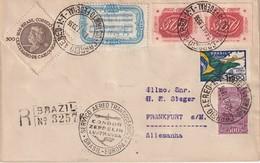 BRESIL 1938 LETTRE RECOMMANDEE  VIA CONDOR ZEPPELIN AVEC CACHET ARRIVEE FRANKFURT - Poste Aérienne