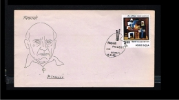 1982 - India FDC - Art - Paintings - Three Musicians - Picasso [GB078] - FDC