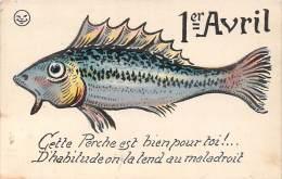 1er Avril - Poisson Perche, Illustrateur Griff (lune Souriante), Colorisée Rehaussée - 1° Aprile (pesce Di Aprile)