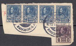 SIAM - 1928 - Quattro Yvert 197 E Un Yvert 195, Obliterati, Su Frammento Di Busta. - Siam