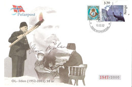 Norway 2002 Olympic Fire 50 Year Anniversary, Cover Wtiht Bjåland, Signed, Cancelled Morgedal 13.02.02 - Norway