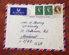 GB - United Kingdom - Cover To USA - MISSENT TO GLEN COVE N.Y. - (W1060) - 1952-.... (Elizabeth II)