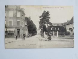 C.P.A. : 27 THIBERVILLE : Place De La Pompe, Animé, Timbre En 1913 - Autres Communes