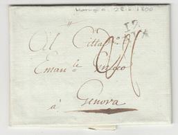 Italy Prephilately Letter Sent 1800 Marsioj To Genova B180710 - Italy