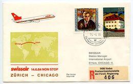 Liechtenstein 1984 Swissair Nonstop Flight Cover Zürich To Chicago - Liechtenstein