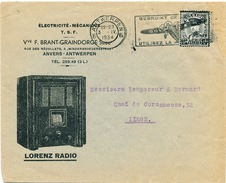 YY461 - Thème RADIO TSF - Enveloppe Illustrée TP Képi Deuil ANTWERPEN 1934 - Radio Lorenz / Haut Parleur Farrand - Timbres