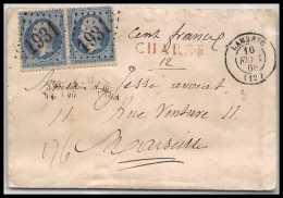 39098 N°22 Paire Napoleon Lambesc 1868 Chargé Cachet De Cire Bouches Du Rhone Pour Marseille Lettre Cover - Postmark Collection (Covers)