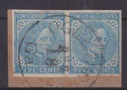 ETATS-UNIS : ETATS CONFEDERES . N° 9 . PAIRE OBL SUR FGT . 1862/64 . ( CATALOGUE YVERT ) . - 1861-65 Confederate States