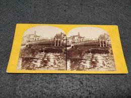 ANTIQUE STEREOSCOPIC REAL PHOTO ITALY ROME - THE FORUM - Stereoscopi