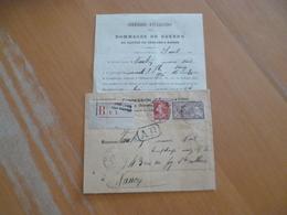 Lettre France Recommandé AR Châlons Sur Marne Pour Nancy 10c Rouge Semeuse + Merson - Postmark Collection (Covers)