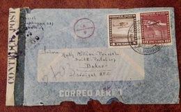 Chili - Cover/lettre - Censure 1944 Pour AOF (Dakar, Sénégal) Transit New York Et Miami - (M058) - Chile