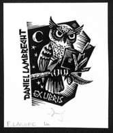 Ex-libris Illustration Hibou Livre Daniel Lambrecht (F. Lasure) - Ex-libris