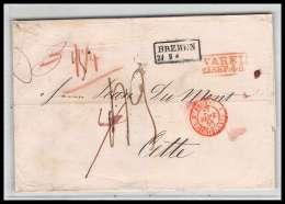 41334 Lettre LAC Allemagne Deutschland Varel Bremen Prusse VALENCIENNES 1848 Cette Herault France Marque D'entree - [1] ...-1849 Voorlopers