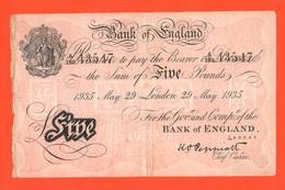 Five Pounds 1935 Falso D'epoca Operation Bernhard  Faux Vintage Fake Falsch Great Britain Bank Of England - Falsi & Campioni