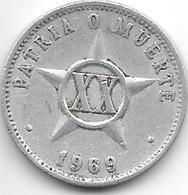Cuba 20 Centavos 1969  Km 35.1 Vf+ - Cuba