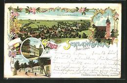 Lithographie Schleinbach, Partie In Der Hauptstrasse, Schule, Kirche - Autriche