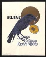 Ex-libris Illustration Corbeau Fleur Au Bec Gerhard Kreyenberg (Lukanski) - Ex-libris