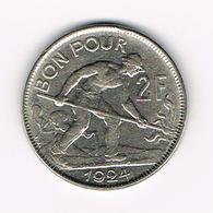 &-  LUXEMBOURG  2 FRANC 1924 - Luxembourg