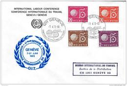 56 - 66 - Enveloppe Avec Timbres BIT Oblit Spéciale  Conférence Interna Travail 1972 - 57ème Session - ILO