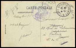 42857 Beaune Centralisateur 1918 Controlé Carte Postale (postcard) Carantec Chateau Guerre 1914/1918 War Ww1 - Marcofilia (sobres)