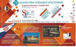 MARQUE PAGE - SALON PHILATELIQUE D'AUTOMNE 2018 - CNEP - Bookmarks