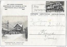 """57 - 77 - Entier Postal  """"100 Ans Chemins De Fer"""" Oblit Mécanique """"Pro Juventute 1947"""" - Entiers Postaux"""