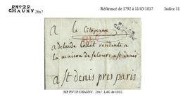 Aisne - Chauny Pour St Denis. LAC En Port Payé. 1802 - Postmark Collection (Covers)