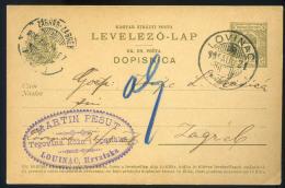 LOVINAC 1906. Kétnyelvű Díjjegyes Levlap, Szép Céges Bélyegzéssel Zágrábba - Used Stamps