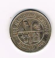 &-    IJSLAND  100 KRONUR 2001 - Islande