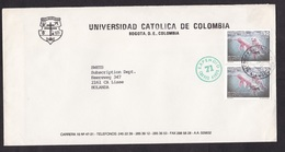 Colombia: Airmail Cover To Netherlands, 1991, 2 Stamps, Amazon River Dolphin, Animal, Rare Real Use (traces Of Use) - Colombia