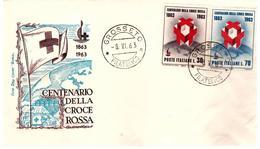 Fdc Roma : CROCE ROSSA 1963 ; No Viaggiata; AF_Grosseto - F.D.C.