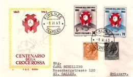 Fdc Rodia : CROCE ROSSA 1963 ; No Viaggiata; AF_Firenze - F.D.C.